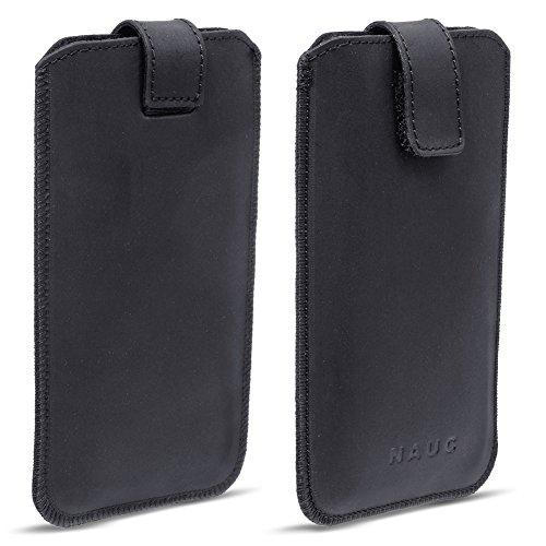 NAUC ARCHOS 55 Platinum Leder Tasche Pull Tab Sleeve Hülle Schutzhülle Case Cover Bag, Farben:Schwarz