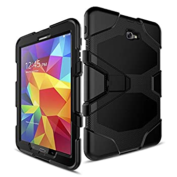FastSun Samsung Galaxy Tab E 9.6 Case Heavy Duty Armor Hybrid Rugged Hard Shockproof Multi-Function Stand Cover Protect Case with Build in Screen Protector for Samsung Galaxy Tab E 9.6  T560  Black