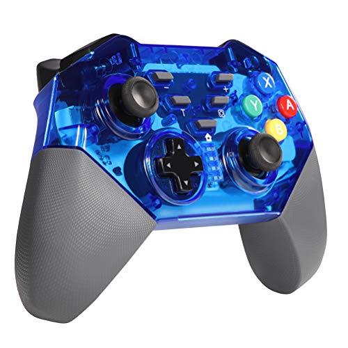 Shumeifang Manette pour Nintendo Switch, sans Fil Bluetooth Contrôleur Gamepad pour Nintendo Switch Pro, Manette de Jeu à Fonction 6 Axes Gyroscope / Dual Vibration, Bleu