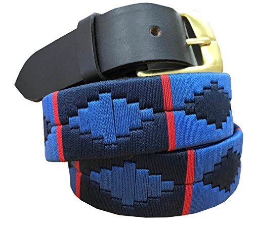 Carlos Diaz Cinturón Polo de Cuero Bordado Marrón Premium de Diseñador para Hombres Mujeres Unisex (85 cm / 32-34 Inches)