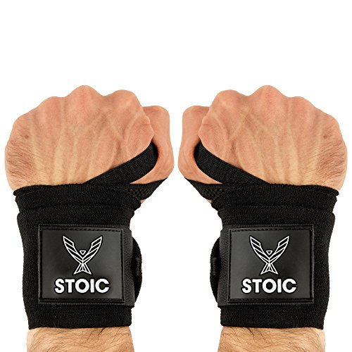 Stoic Wrist Wraps Weightlifting, Powerlifting, Cross Training, Bodybuilding with Thumb Loop. Professional Grade for Gym Workout, Men and Women Weight Lifting and Strength Training Black 36 Inch