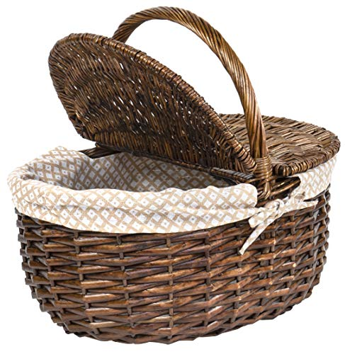 Red Co. Wicker Picnic Basket with Folding Lid and Handle Storage Container for Picnic, Camping, Outdoors