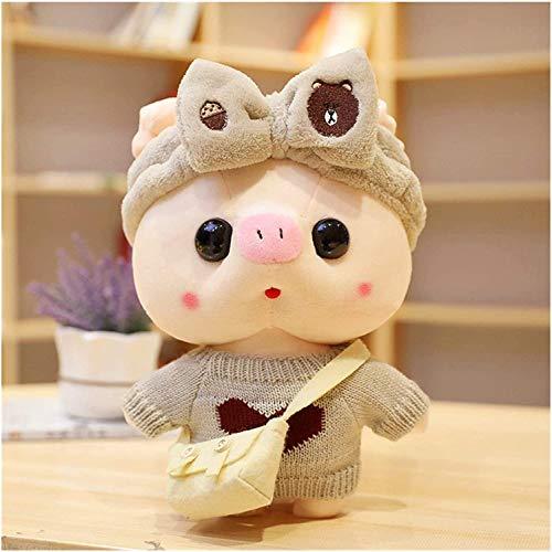 Fei Fei Juego de 2 juguetes de peluche, linda muñeca de cerdo, cojín de almohada para dormitorio, sala de estar, Navidad, regalo de cumpleaños 30 cm 303 (color: amarillo, tamaño: paquete de 2)