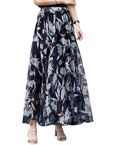 Womens Bohemian Chiffon Maxi Ankle Skirt with Elastic Waistband, Black# Flower, X-Large