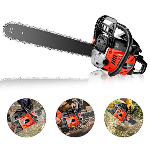 KGK 62CC Gas Powered Chainsaw 20 Inch Gas Chain Saw 2 Strokes Automatic Chain Oiler Anti-vibration System Wood Cutting Petrol Chainsaw with Tool Kit Carry Bag for Cutting Trees Farm Garden