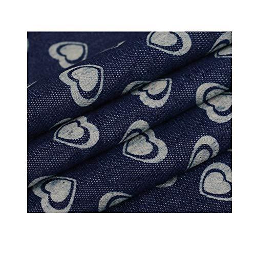 Denim katoen, rok maken, babykleding, elastiek, lente en zomer zacht en dun spijkerblouse 150cm breed (Color : Two hearts)