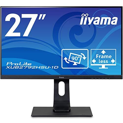 マウスコンピューター iiyama モニター ディスプレイ XUB2792HSU-B1D(27型/IPS方式/3辺フレームレス/広視野角/非光沢/昇降/ピボット/スィーベル/1920x1080/DP,HDMI,D-Sub)