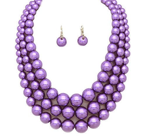 Fashion 21 Women's Three Multi-Strand Simulated Pearl Statement Necklace and Earrings Set (Lavender)