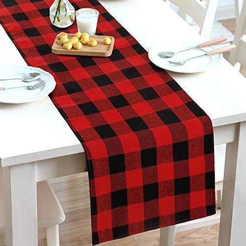 Dremisland Camino de mesa Buffalo a cuadros de mezcla de algodón y poliéster, bandera de mesa a cuadros roja y negra para decoración de Navidad, hogar, comedor, granja, fiesta, reunión