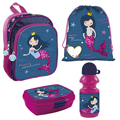 Familando Juego de mochila de guardería de sirena, 4 piezas, con fiambrera, botella y bolsa de deporte, diseño de princesas del mar