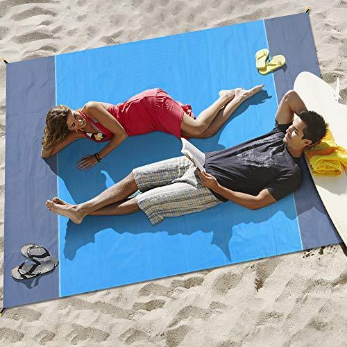Merisny 210 x 200 cm Stranddecke wasserdichte sandabweisende Tragbare, Picknickdecke, 4 Befestigung Ecken, Wasserdicht, Schnell trocknend, Ultraleicht, Tragbar