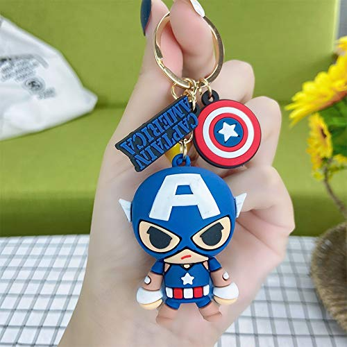 Xpccj Key Chains Avengers Captain America Doll Keychain Iron Man Spider-Man Cartoon Bag Pendant Hulk Thor Children Gifts Cartoon keychain (Color : Captain2)