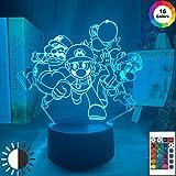KangYD Juego de luces nocturnas 3D Super Bros, lámpara de ilusión LED, panel de acrílico, G - Control de Telefonía Móvil, Lámpara moderna, Luz de la moda