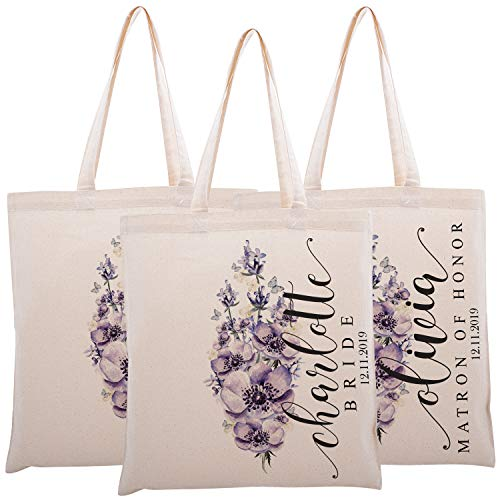 Personalized Printed Cotton Canvas Tote Bag | Custom Handbag Gift for Events | Wedding Bachelorette Baby Shower Birthday Party Christmas Bridesmaid | Bunch Of Lavender Flowers | C1D10 | Set of 3