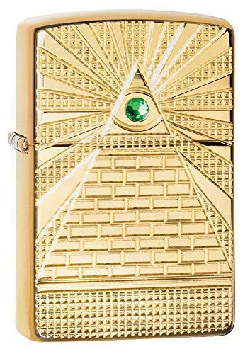 ZIPPO – Eye of Providence Design - Armor® High Polish Brass – Sturmfeuerzeug, nachfüllbar, in hochwertiger Geschenkbox