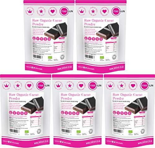 PINK SUN Raw Organic Cacao Powder 5kg (1kg x 5) Unsweetened Drinking Chocolate Natural Criollo Cocoa Sugar Free Bulk Buy