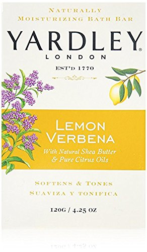 Yardley London Lemon Verbena with Shea Butter & Pure Citrus Oil Moisturizing Bar 4.25 ozr (Pack of 4)