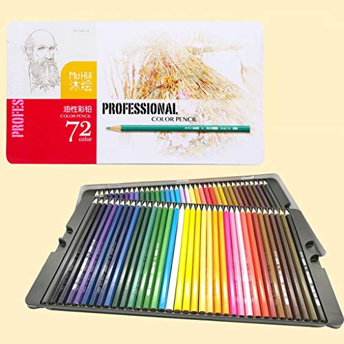 ☀ Dergo ☀ Office & Stationery 72 Color Fine Art Drawing Non-toxic Base Pencils Set iron box Artist Sketch