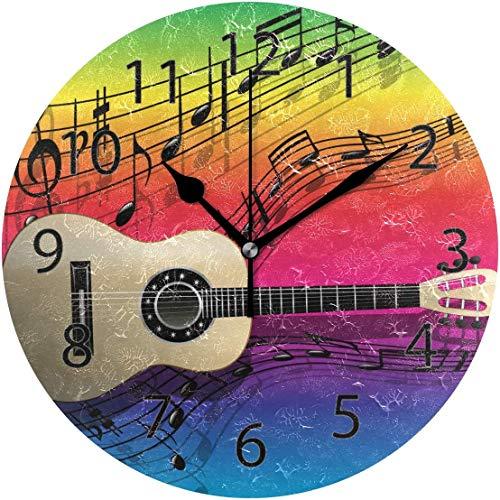xinfub Wanduhr, rund, 25,4 cm Durchmesser, geräuschlose Gitarre, Bunte Regenbogen-Dekoration für Zuhause, Büro, Schule