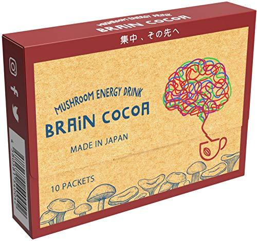 Brain Cocoa マッシュルームドリンクココア [チャーガ ヤマブシタケ テアニン配合] (10包) 国内製造 - Mushroom Organic Cocoa 10 packets featuring Lion's Mane, Chaga mushroom and L-Theanine - Manufactured in Japan