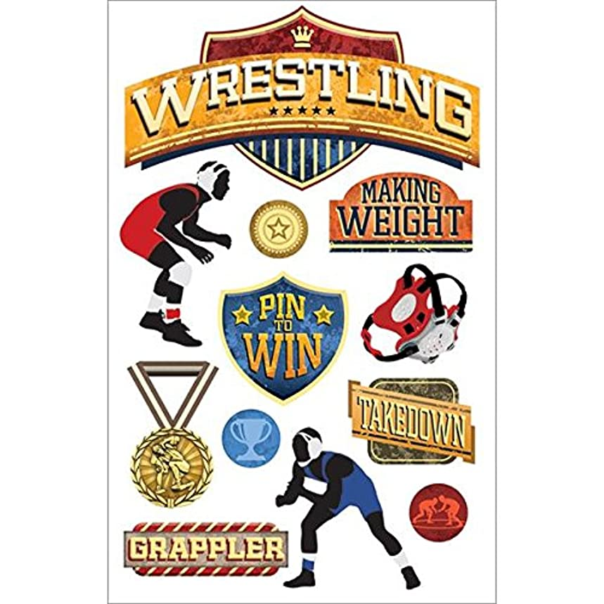 Paper House Productions STDM-206E 3D Stickers, Wrestling