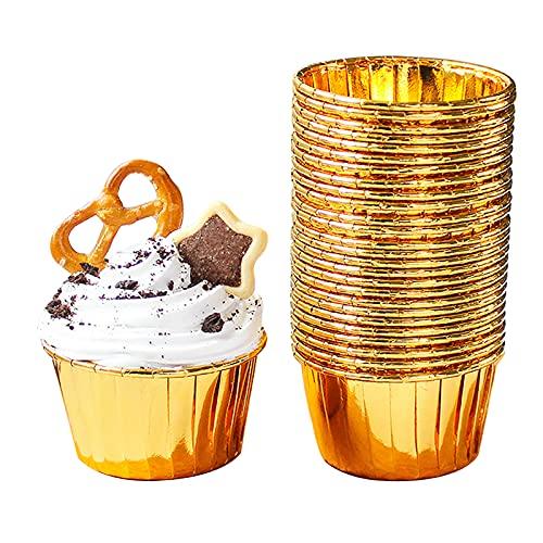 Bncxdc moldes para magdalenas papel, tazas para hornear de aluminio, 50 envoltorios de cajas de cupcakes de papel metálico, forros de papel para muffins para decoración de fiestas (oro)