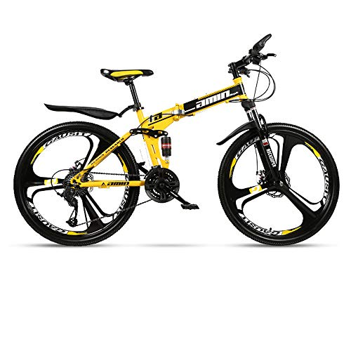 MoMi Folding Mountain Bike Bicycle 21/24/27/30 Speed 24/26 inch Integrated Wheel Double Shock Absorber Racing Off-Road Speed Change Male and Female Students Fast Cycling,Yellow,24in/30speed