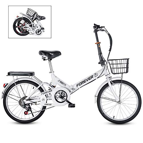 Folding Commuter City Bike,Ultra Light City Riding with Basket,20 Inch Portable Bike,Women's Students City Riding Mountain Cycling for Travel Go Working White