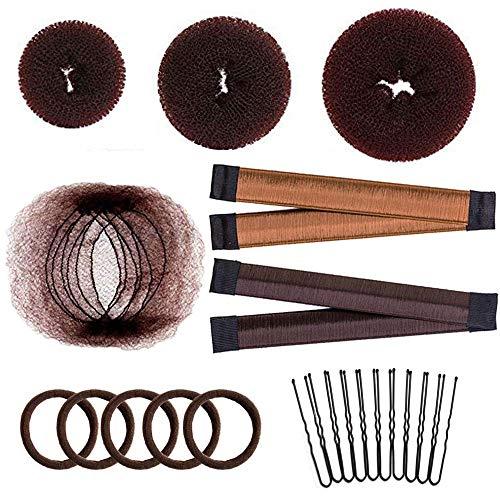 Hair Bun Maker Set with 20 Reusable Invisible Hair Nets, 3 Donut Bun Makers, 2 Snap Hair Bun Shapers, 5 Hair Elastic Bands, 10 Bobby Pins, Easy Hair Bun Styling Kit for Kids Girls Women, Brown