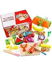 Jacootoys 27 PCS Fantasiespel Voedsel Set met Schort, Kinderen Magnetisch Snijden Speelgoed Fruit Groente Keuken Simulatie Speelset