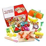 Jacootoys Küchenspielzeug, 26 Teile Holz Spielzeug Lebensmittel Obst Gemüse Ebensmittel Küche Kinder Pädagogisches Lernen Set mit magnetischer Verbindung