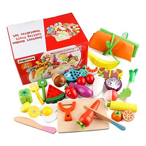Jacootoys Frutta e Verdura Giocattolo Cucina Magnetico Legno Giocattoli di Simulazione Educativi Prescolare Gioca a Cibo per Bambini Ragazzi Ragazze