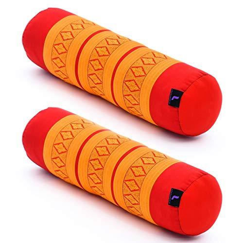 LEEWADEE Set de 2 Yoga bolsters pequeños – Cojines alargados para Pilates,...