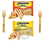 Maruchan Ramen Noodle Chicken and Creamy Chicken Variety, 3 Ounce (Pack of 24) - with Spice of Life Sporks