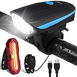 OMERIL Luci Bicicletta LED, Luce Bici Anteriore e Posteriore Ricaricabile USB Super Luminoso Luci Bicicletta Impermeabile IP65 con Clacson Luci Bici per Bici Strada e Montagna, Sicurezza per Notte