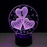 (Seulement 1) 3 coeurs veilleuse 3d lampe de Table romantique Led couleurs chevet Lampe décor à la maison éclairage Lampara Veilleuse batterie externe