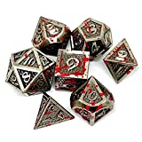 Bloodstained Metal Polyhedral Dice Set for Tabletop Roleplaying Games, Dungeons and Dragons, DND, D&D