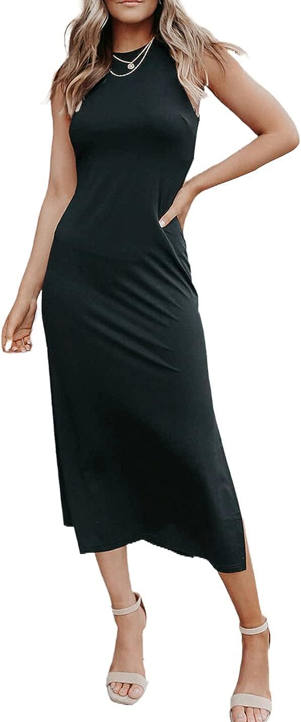 AILUNSNIKA Womens Casual Midi Dress Summer Sleeveless Bodycon Dress Sexy Side Slit...