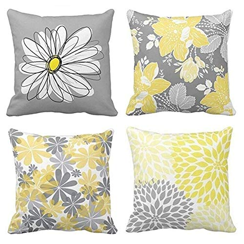 BJYHIYH Decorative Throw Pillow Covers 18'x18'Grey and Yellow Flowers Cushion Cover Soft Polyester Square Throw Pillow Case for Living Room Sofa Couch Bed Pillowcases Set of 4