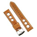 B & R Bands 22mm Tan Horween Leather Rallye Watch Strap Band White Stitch - Medium Length