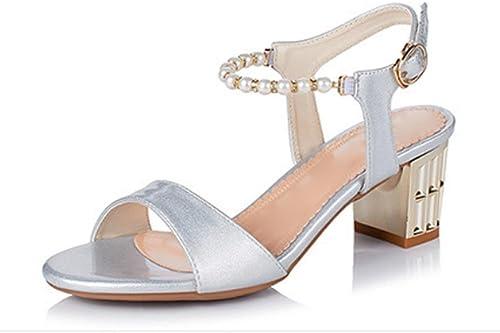 Chaussures d'été, épais avec tête de de poisson en sandales avec des chaussures sangle mot de perles , argent , US6   EU36   UK4   CN36  présentant toutes les dernières mode de la rue haute
