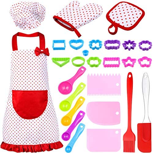 27 Pieces Kids Cooking Baking Set Includes Dot Flirty Canvas Funny Apron with Chef Hat Oven product image