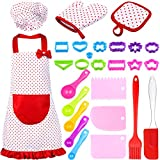 27 Pieces Kids Cooking Baking Set Includes Dot Flirty Canvas Funny Apron with Chef Hat Oven Mitt Pot Holder and 23 Pieces Baking Tools Kit for Kids Cooking and Baking