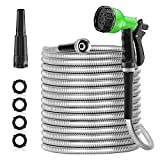 SPECILITE 50ft 304 Stainless Steel Metal Garden Hose, Drinking Safe Water Hoses with 2 Nozzles for Yard, Outdoor - Heavy Duty ,Flexible, No Kink & Tangle, Puncture Resistant