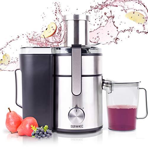 Duronic JE10 Centrifugeuse verticale à jus de 1000W pour fruits et légumes entiers - Large ouverture de 85 mm - Bec verseur anti-gouttes – Préparez vos jus fait-maison sans additifs, colorants ou sucre ajouté