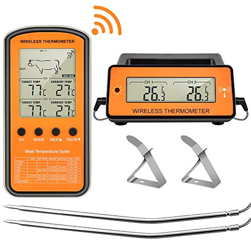 Tehwaaz Grill Thermometer, Wireless Remote Digital Meat Thermometer for Grilling with Dual...