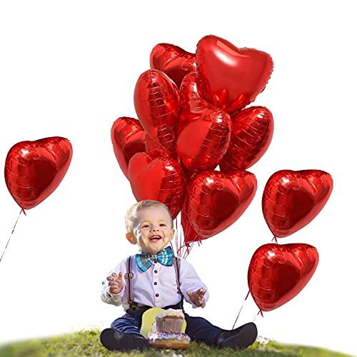 Yisscen Globos Corazón Rojo, Globos de Papel de Aluminio, 25 Piezas Globo romantico de helio, Usado para Decoración de cumpleaños,Decoración de San Valentín, Baby Shower, decoración del Partido