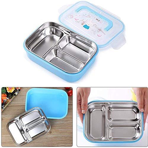 WFCQNB Caja de Almuerzo de Acero Inoxidable con 3 Compartimentos, Almuerzo a Prueba de Fugas para Adultos y niños en escuelas y Jardines de Infancia, se Puede Utilizar en lavavajillas, BPA -