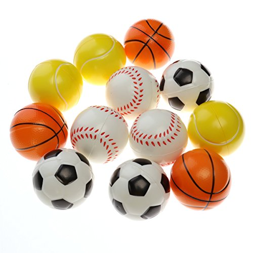 Squishy Spielzeugball Mini Softball Fußball Basketball Baseball Tennisball Stressabbaukugel Anti-Stress-Spielzeugkugeln für Kinder - Packung mit 12 Stück