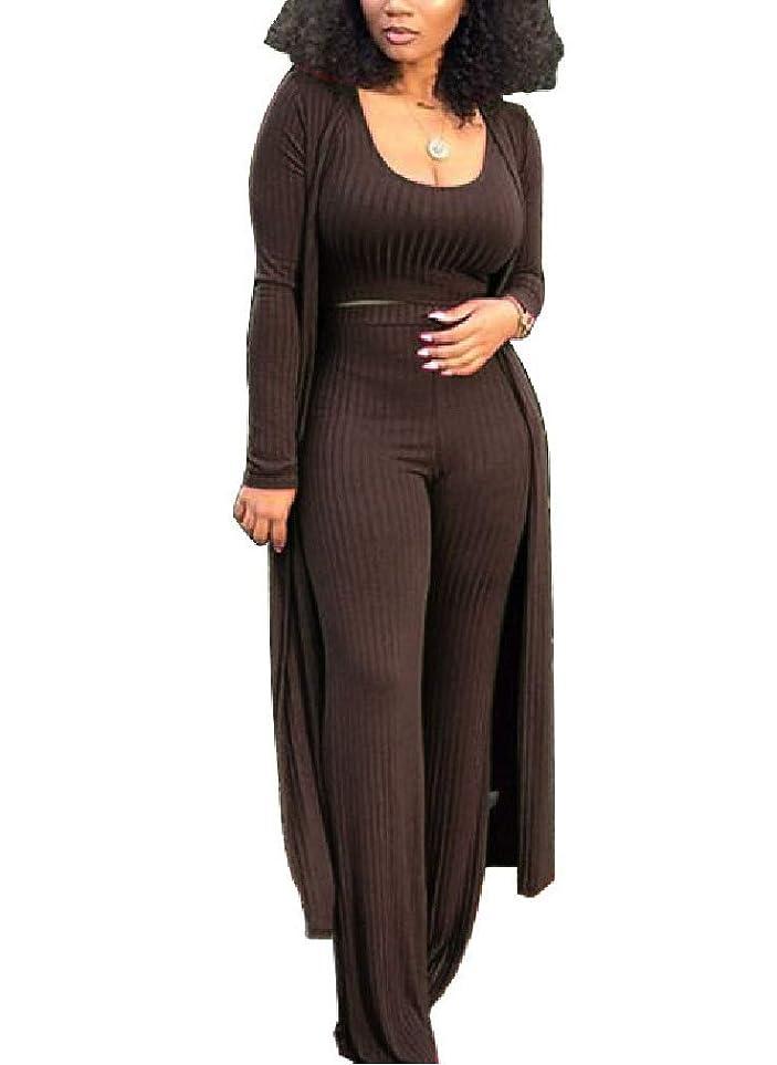ファイバ動機やさしいGodeyesW 女性2ピースの着物のカーディガンと高いウエストパンツ